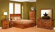 Amish San Juan Mission Platform Bed With Drawers
