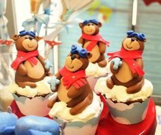 What cute Teddy bear chocolate cupcakes at this Aviator Bear Birthday Party! See more party ideas and share yours at CatchMyParty.com