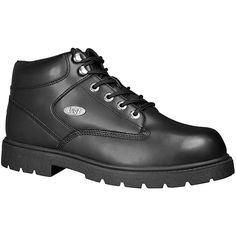 This Zone Hi boot from Lugz features a leather upper with padded tongue and collar in addition to a cushioned insole. With its military style design and a hard, durable slip resistant outsole, this shoe is made to perform.