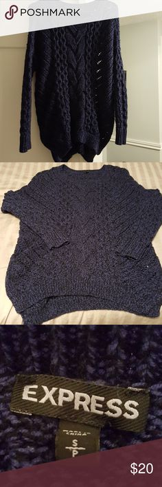 Express oversized cable knit sweater size small Express oversized cable knit blue sweater in geat condition. Only wore once.  The back is longer than the front so it would be perfect with leggings in Fall 🍁 Express Sweaters