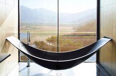 modern black hammock style bathtub