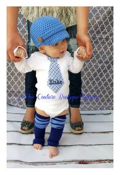 Baby Boy Easter Spring Baby Blue and Navy Blue Plaid Personalized Tie bodysuit & Striped Leg Warmers SET. 1st Birthday Outfit Father's Day