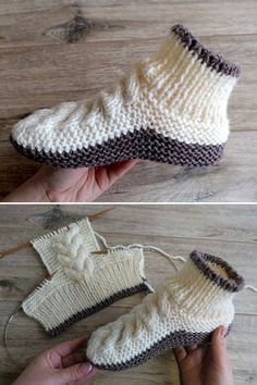 Wool Cable Slippers - Free Knitting Pattern Free Knitting Pattern History of Knitting Wool spinning, weaving and stitching careers such as for example BC. Knit Slippers Free Pattern, Knitted Slippers, Crochet Slippers, Knit Crochet, Knitting Patterns Free, Free Knitting, Baby Knitting, Crochet Patterns, Beginner Knitting