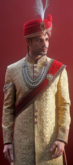 502020: Beige and Brown color family stitched Sherwani .