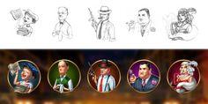 "Graphic design of symbols for the game slot-machine ""Mafia hunt"" http://slotopaint.com/"