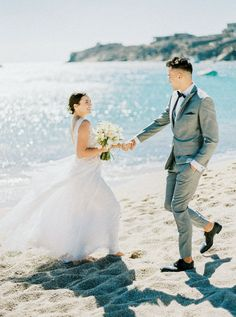 A destination wedding on the Greek island of Mykonos with a beach wedding ceremony and a reception at a Mykonos boutique hotel. Beach Ceremony, Wedding Ceremony, Wedding Venues, Coastal Wedding Centerpieces, Wedding Decorations, Wedding Blog, Destination Wedding, Coastal Wedding Inspiration, Blue Wedding