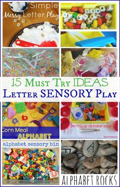 15 Must Try Letter Sensory Play Ideas Alphabet Hands On Learning - Sensory Bins Alphabet Activities, Literacy Activities, Activities For Kids, Preschool Ideas, Preschool Alphabet, Alphabet Letters, Literacy Centers, Teaching Resources, Sensory Tubs