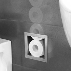 LoooX Closed inbouw reserverolhouder v. 6 rollen RVS LoooX Closed recessed spare roll holder for Small Toilet Room, Guest Toilet, Downstairs Toilet, New Toilet, Bathroom Interior, Modern Bathroom, Small Bathroom, Modern Toilet, Luxury Toilet