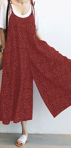 1f205cee24df Amazing O-NEWE Casual Women Loose Dot Spaghetti Strap Jumpsuits on Newchic