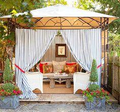 Beachy Backyard Cabana Ideas: http://beachblissliving.com/bring-a-beach-cabana-to-the-backyard-for-the-ultimate-lounging-experience/