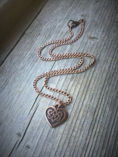 Copper Celtic Heart Charm Chain Necklace by McHughCreations