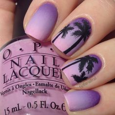 Having short nails is extremely practical. The problem is so many nail art and manicure designs that you'll find online Love Nails, How To Do Nails, Fun Nails, Pretty Nails, Purple Nail Designs, Cute Nail Designs, Purple Nails With Design, Tropical Nail Designs, Pedicure Designs