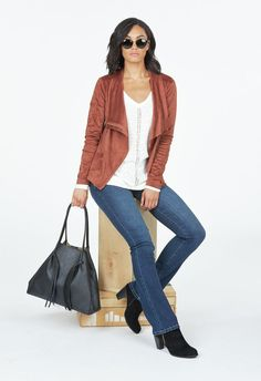 Faux Suede Draped Front Jacket in Terracotta - Get great deals at JustFab