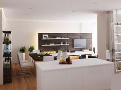 White Kitchen Island Beside Entertainment Room Ideas