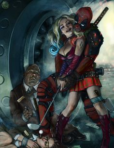 #Deadpool #Fan #Art. (Harley and Deadpool crazy love) By: Giedrius. (THE * 5 * STÅR * ÅWARD * OF: * AW YEAH, IT'S MAJOR ÅWESOMENESS!!!™)[THANK U 4 PINNING!!!<·><]<©>ÅÅÅ+(OB4E)    https://s-media-cache-ak0.pinimg.com/564x/11/2a/54/112a54fb4dd6e872dfb58dfe9e1854c9.jpg