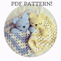 Teddy Snuggle Crochet Comfort Blanket Baby Children Toy Blanket- Pattern Only £3.50