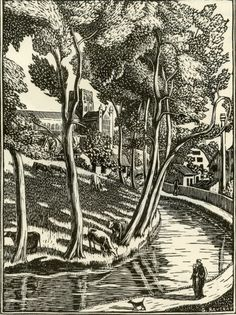 Gwen Raverat: The River Ver, one of a series of six wood engravings commissioned by London Underground in 1929