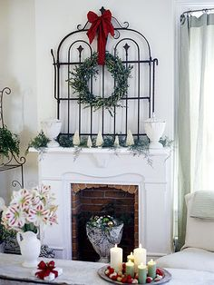 Country Classic Christmas Mantle. (click thru for more ideas)