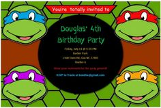 Teenage Mutant Ninja Turtle Party Invitation