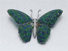 """Green Garnet, Sapphire and Diamond Butterfly Brooch -  18 kt. white gold, ap. 10.9 dwt. 1 1/2 x 2 1/4""""."""