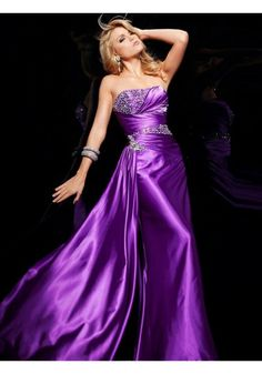 Sheath/Column Strapless Sleeveless Floor-length Elastic Woven Satin Prom Dress #FC064
