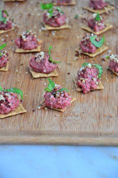 Mini Tahini Beet Canapes {Gluten-Free, Dairy-Free, Vegan}