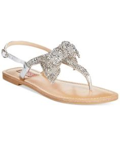 Dolce by Mojo Moxy Sienna Rhinestone Bow Flat Thong Sandals - Sandals - Shoes - Macy's