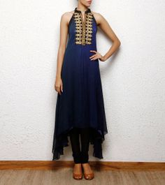 high low hem blue kurta cum dress with gold hand embroidery, Aneehka @ indianroots.com indo-western, fusion wear, destination wedding, tunic, india