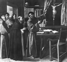 Saint Bonaventure. Ora Pro Nobis!  'St. Bonaventure and St Thomas Aquinas Before the Crucifix' by Francisco Zubarán 1598-1664