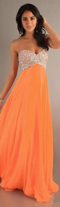 Sexy Natural Sleeveless Orange Long Chiffon Evening Dresses yiyadresses32501stike #longdress #promdress