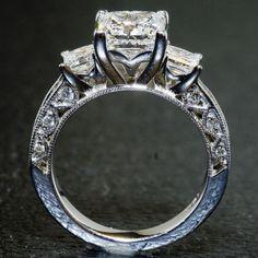 Custom Tacori Ring - 3 Stone Princess Cut    http://www.custommade.com/custom-tacori-ring-3-stone-princess-cut/by/diamondzone/