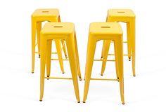 Yellow Steel Stools, Set of 4