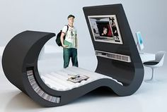Designed for teenagers in a competition, this chaise lounger contains a desk, flat screen and media storage.