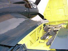 Wing gun compartment of a Vought F4U Corsair fighter.
