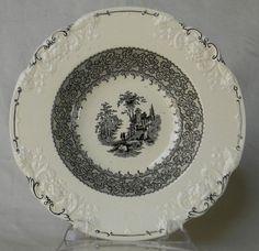 Antique Black English Transferware Salad or Soup Bowl Marlborough Embossed Floral Border