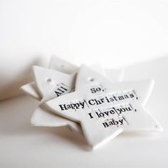 'Fairytale of New York' Porcelain Star collection now being made in time for Christmas. Get in touch to order now. Link to website in bio. New York S, Christmas Deco, Fairy Tales, Porcelain, Place Card Holders, Touch, Stars, Happy, How To Make