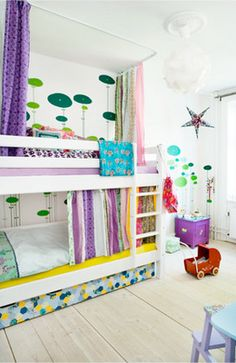 Fresh purples and greens - love the curtain to the bottom bunk.  @Verla Bell Bell, @Angelena Bridges Jarrett Jenkins......I'M GONNA DO IT!