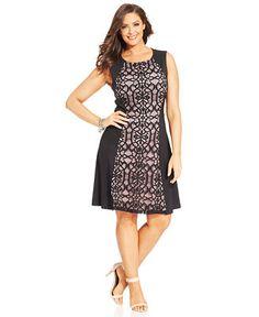 Women s Plus Size Sleeveless Pattern Ponté Welt Pocket Dress from