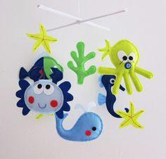 """Baby Mobile - Starfish Crib Mobile - """"Funny Crab Playing with Starfish""""  - Handmade Nursery Mobile (Match your bedding)"""