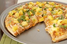 bbq chicken and pineapple pizza
