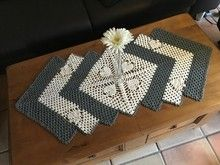 Granny Square Runner Pattern Diagram and Inspiration. Loving this easy to create granny square runner,… Crochet Table Runner Pattern, Crochet Vest Pattern, Crochet Beanie, Crochet Blanket Patterns, Crochet Kitchen, Crochet Home, Crochet Crafts, Crochet Projects, Quick Crochet