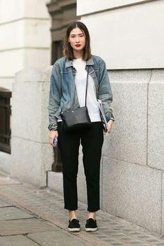 Denim Jacket on Block Pants White Shirt Style