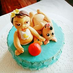 Baby and puppy cake topper by bakesbyd