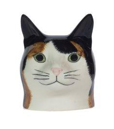 Caille céramique-tête de chat-Coquetier-Eleanor-tigré (Blanc)