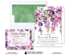 FLORES de color púrpura boda invitación & por digibuddhaPaperie