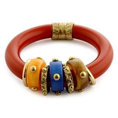 Red Resin Bangle in Goltone