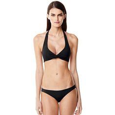 Canvas by Lands' End Women's Twist Halter Bikini Top ($32) ❤ liked on Polyvore featuring swimwear, bikinis, bikini tops, neutral, swim top, halter swimsuit tops, halter bikini, halter tankini top and halter neck bikini top