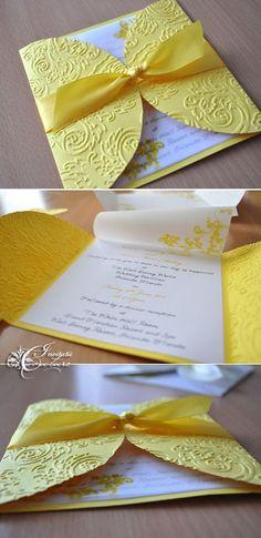 Handmade by Meda: Dragonfly Wedding Invitations (Invitatii de nunta cu libelule) Handmade Wedding Invitations, Diy Invitations, Wedding Invitation Cards, Wedding Stationery, Wedding Cards, Yellow Wedding Invitations, Invitation Wording, Paper Cards, Folded Cards