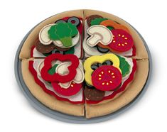 Felt Play Food - Pizza Set : Make a 10-inch felt pizza to please any palate with this 42-piece create-a-pizza set. Your little chef can choose from an array of colorful toppings, and even customize each slice. Then slide the pizza into the box--time to deliver!