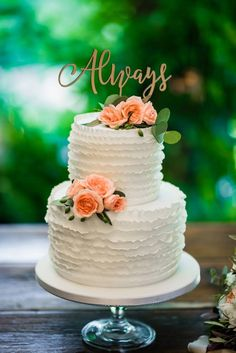 Gold Wedding Cakes Always Calligraphy Wedding Cake Topper Wedding Cake Prices, Small Wedding Cakes, Creative Wedding Cakes, Floral Wedding Cakes, Wedding Cake Designs, Wedding Cake Toppers, Wedding Decor, Wedding Reception, Gold Wedding